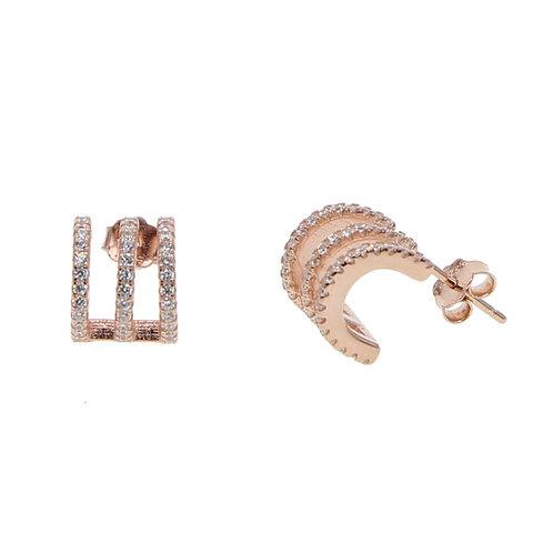 Rose Gold Triple Hoop Earrings