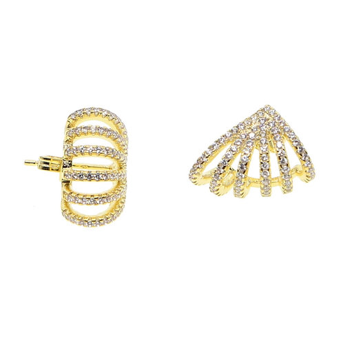 Gold Fan Shape CZ Earrings