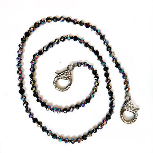 Black & Iridescent Mask Necklace