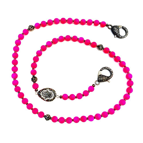 Neon Pink Mask Necklace