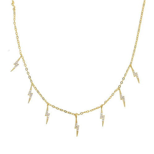 Blinged Out Lightning Bolts Necklace