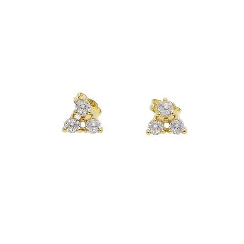 Gold Triple Diamond Studs