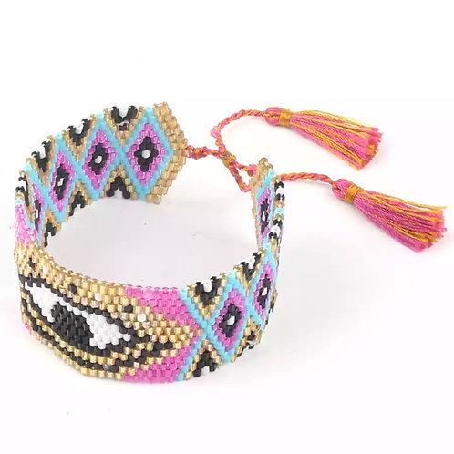 Evil Eye Miyuki Beaded Cuff Bracelet