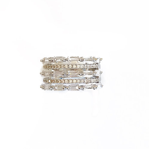 Silver Multilayer Baguette Ring
