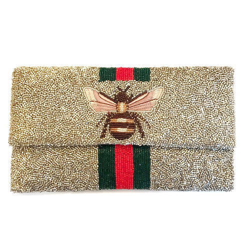 LOWEST PRICE ANYWHERE! AND FREE SHIPPING! Silver Gucci Inspired Bee Clutch