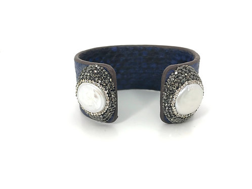 Adjustable navy python cuff with encrusted gemstones