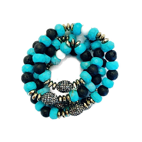 Turquoise, Lava & Pyrite Wrap
