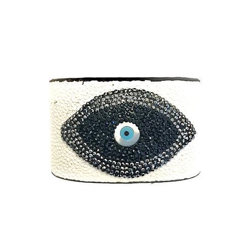 White Evil Eye Cuff