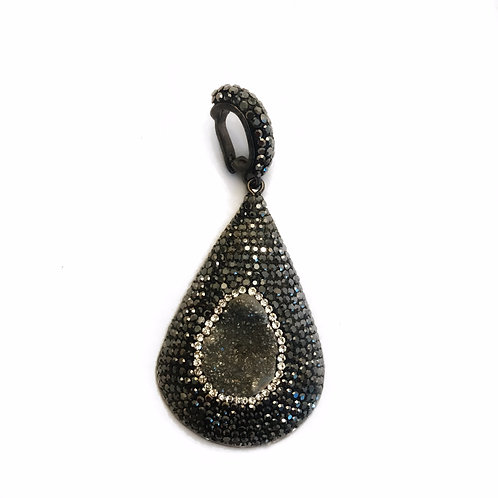 Interchangeable grey druzy pendant