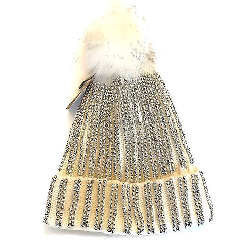 Cream Blinged Out Hat