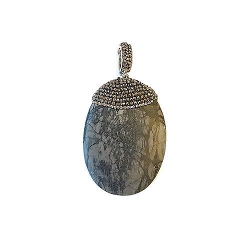 Interchangeable Grey Stone Pendant