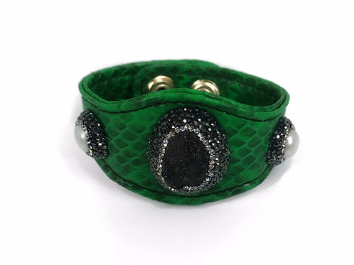 Encrusted Gemstone Green Python Cuff