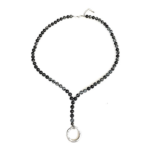 Black Snowflake Obsidian Eyeglass Necklace
