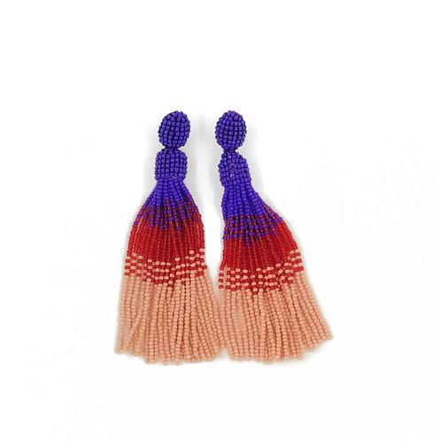 Purple, Red and Pink beaded Tassel earrings