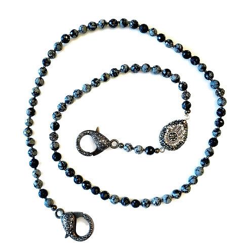 Black Snowflake Obsidian Mask Necklace