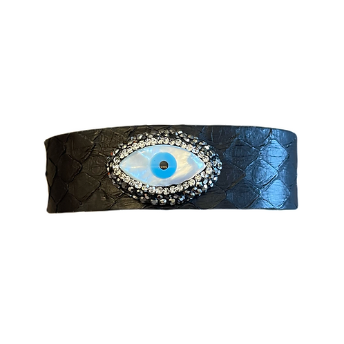 Adjustable Black Evil Eye Cuff Bracelet