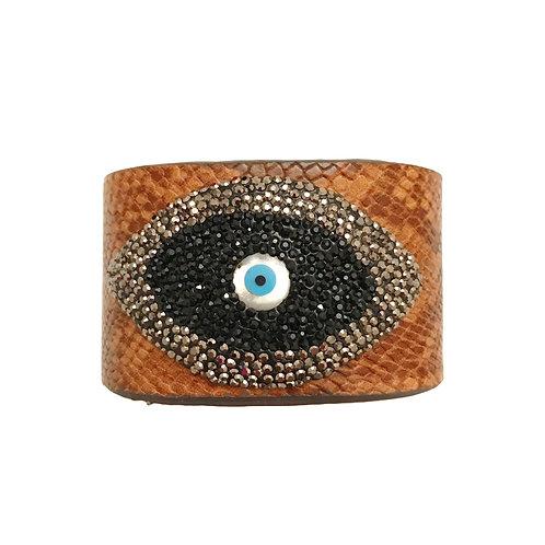Brown Evil Eye Cuff