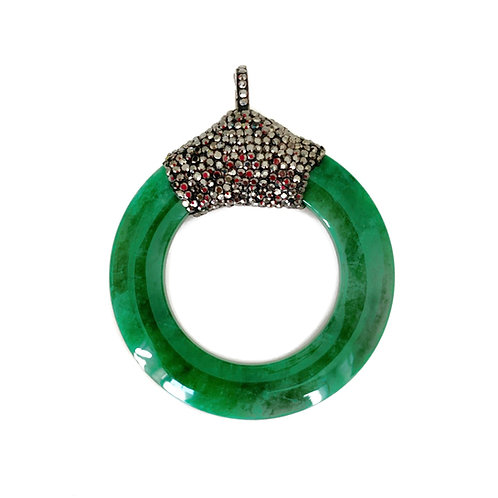Interchangeable Jade Circle Pendant