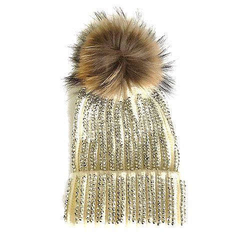 Blinged Out Cream Hat with Natural Fur Pompom