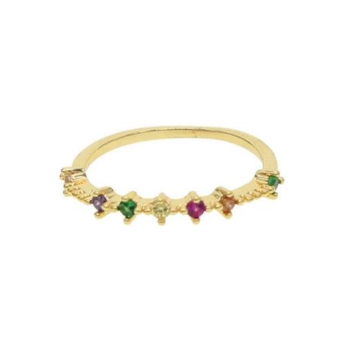 Dainty Gold Rainbow Ring