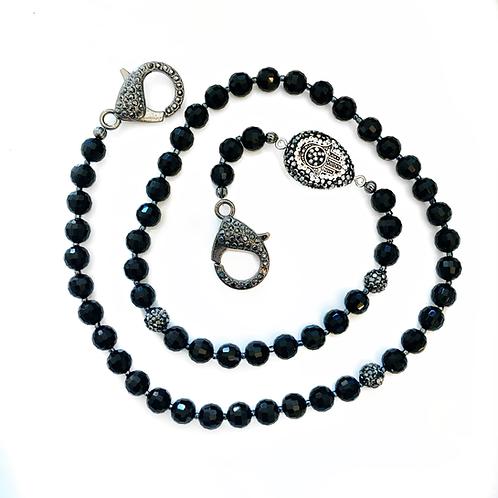Black Crystal & Hamsa Mask Necklace