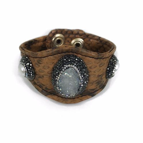 Encrusted Gemstone Brown Python Cuff