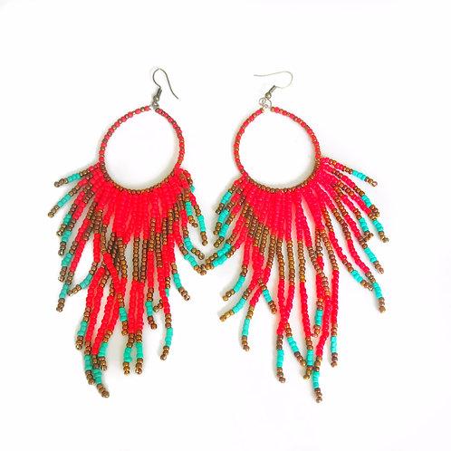 Red Seed Bead Tassel Earrings