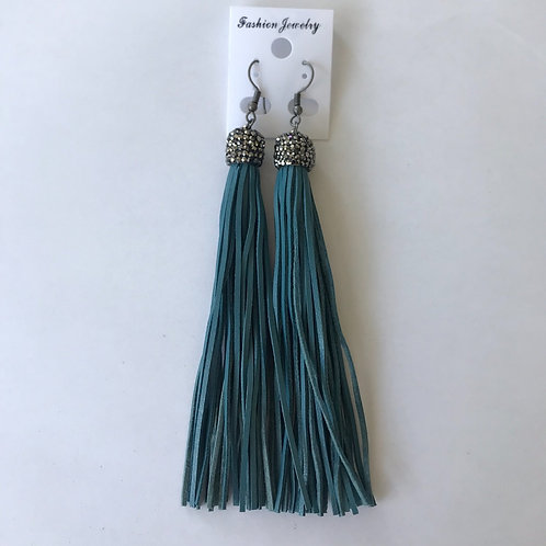 Turquoise Leather Tassle