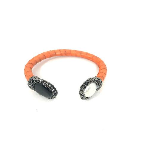 Adjustable Thin Orange Python Cuff