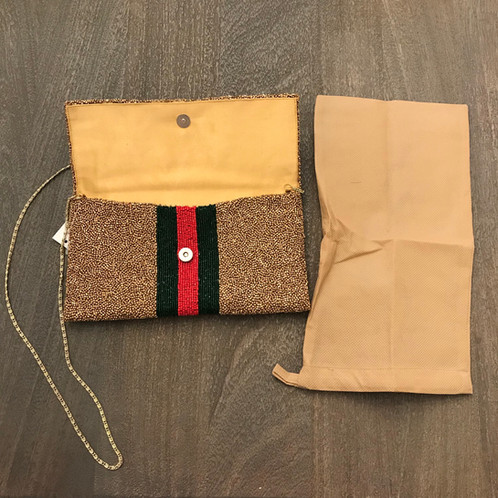 18bbe650f986 Gorgeous designer hand beaded gold Gucci inspired clutch with red and green  stripes and optional chain strap. This bag will have beads turning from  every ...