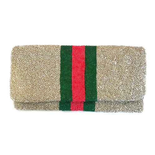 Gucci Inspired Silver Beaded Clutch
