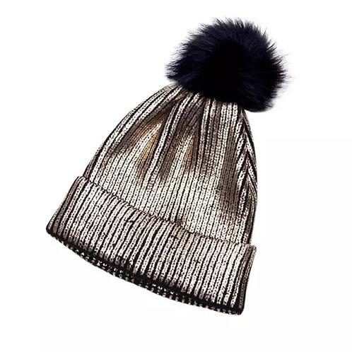 Metallic Gold Pom Pom Hat