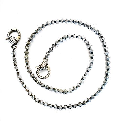 Grey Crystal Mask Necklace
