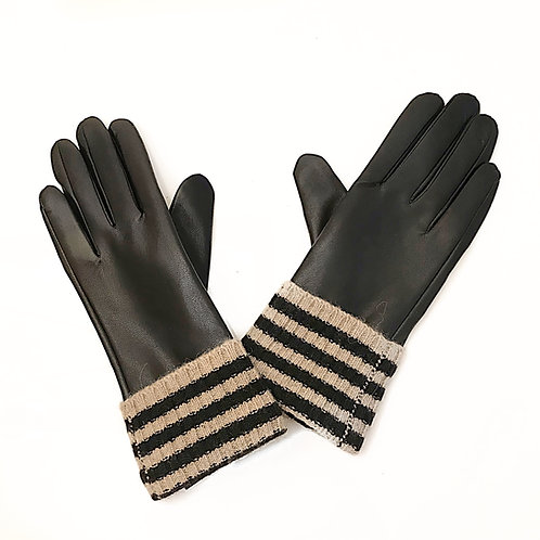 Black Leather & Striped Knit Gloves