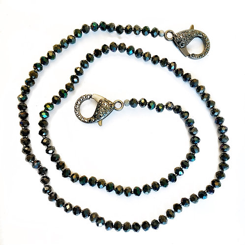 Iridescent Charcoal Mask Necklace