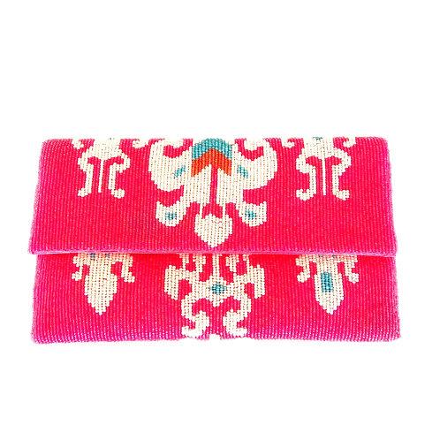 Pink Ikat Beaded Clutch