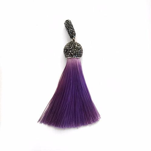 Interchangeable purple tassel pendant