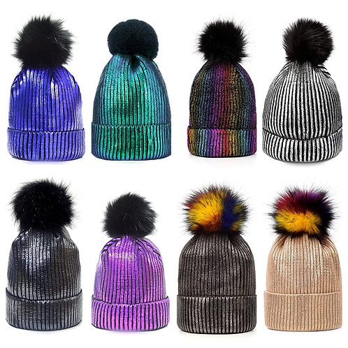 Metallic Colored Faux Pom Pom Hat
