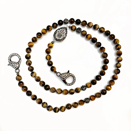 Faceted Tigers Eye Mask Necklace