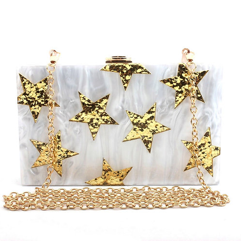 White Acrylic Star Clutch