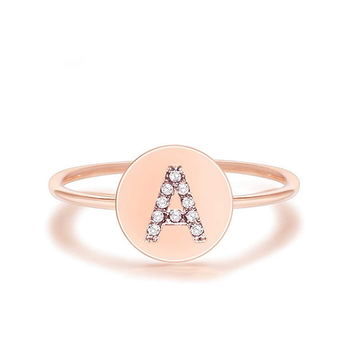 Adjustable Rose Gold Initial Ring