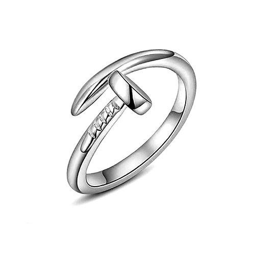 Adjustable Silver Nail Ring