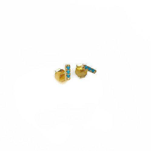Gold & Turquoise Bar Earrings