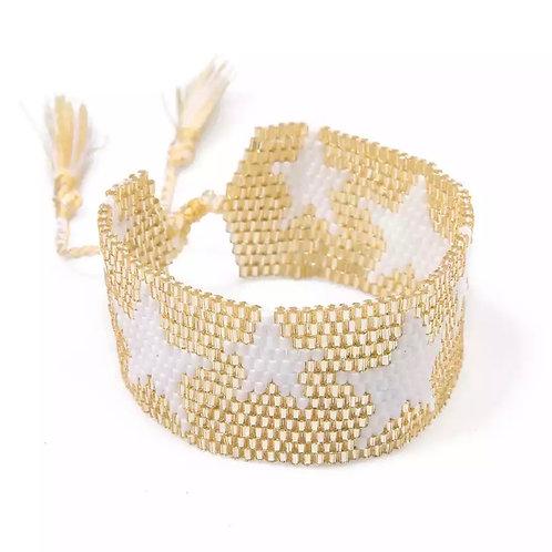 Star Miyuki Beaded Cuff Bracelet