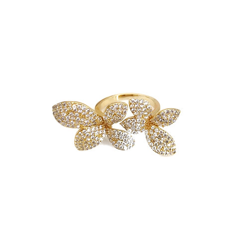 Adjustable Gold Double Flower Ring