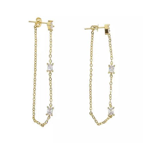 Trio Baguette Chain Earrings