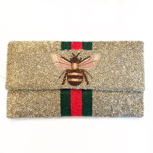 734721142ac2 LOWEST PRICE ANYWHERE! Silver Beaded Gucci Bee Clutch