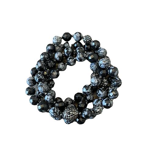Black Snowflake Obsidian Wrap