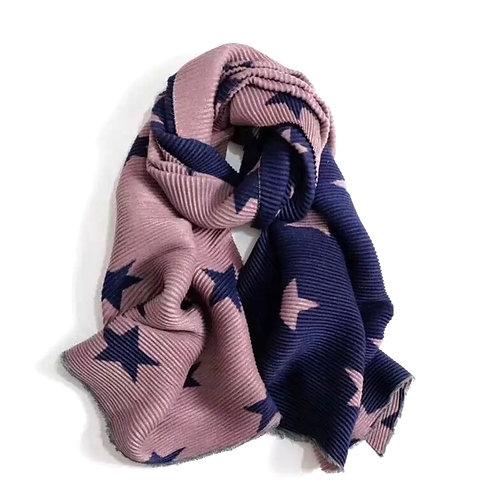 Navy & Pink Cashmere Blend Star Scarf