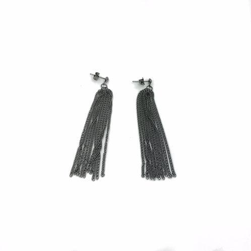 Gunmetal Chain Tassel Earrings